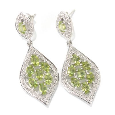 "133-046 - Gem Insider Sterling Silver 2"" 7.68ctw Peridot Double Marquise Drop Earrings"