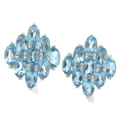 133-050 - Gem Insider Sterling Silver Gemstone Diamond Shaped Stud Earrings
