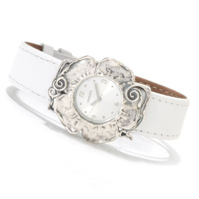 "133-067 -  Passage to Israel Women's 8.5"" Stainless Steel Leather Strap Flower Watch"