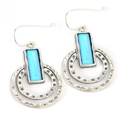 "133-077 - Passage to Israel Sterling Silver 1.5"" 15 x 5mm Simulated Opal Bar & Circle Earrings"