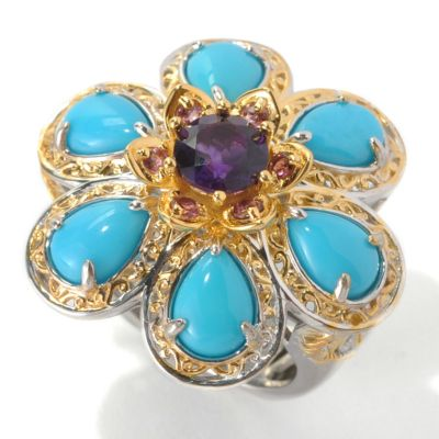 133-085 - Gems en Vogue II 7 x 5mm Sleeping Beauty Turquoise & Multi Gemstone Flower Ring
