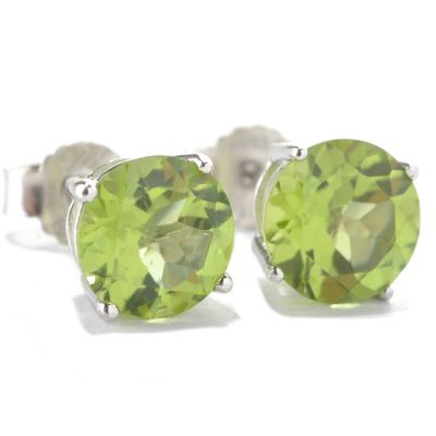 133-099 - Gem Insider Sterling Silver 3.60ctw Round Peridot Stud Earrings