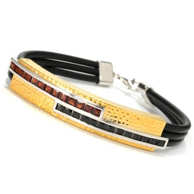 133-117 - Men's en Vogue II 4.16ctw Spinel & Garnet Double Row Rubber Cord Bracelet