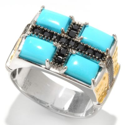 133-130 - Men's en Vogue II 7 x 5mm Sleeping Beauty Turquoise & Spinel Geometric Flat Top Ring
