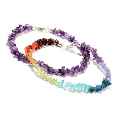 133-148 - NYC II Set of Two Exotic Rainbow & Gemstone Chip Bead Anklets