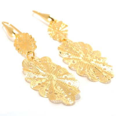 "133-201 - Portofino Gold Embraced™ 3"" Polished Open Work Lace Drop Earrings"