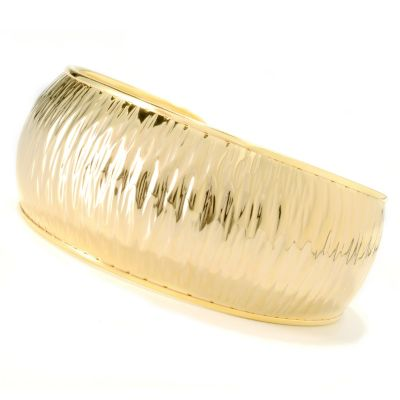 "133-211 - Portofino Gold Embraced™ 8"" Textured Wide Cuff Bracelet"