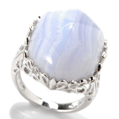 133-283 - Gem Insider Sterling Silver 20 x 15mm Blue Lace Agate & White Topaz Scroll Ring