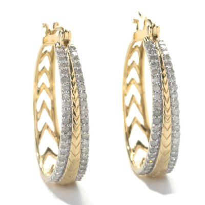 "133-312 - 14K Gold 1"" 0.98ctw Diamond Chevron Row Hoop Earrings"