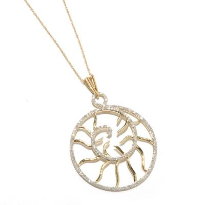 "133-313 - 14K Gold 0.75ctw Diamond Swirl Pendant w/ 18"" Chain"