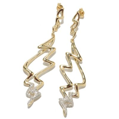 "133-315 - 14K Gold 2.5"" 0.35ctw Diamond Abstract Zigzag Dangle Earrings"