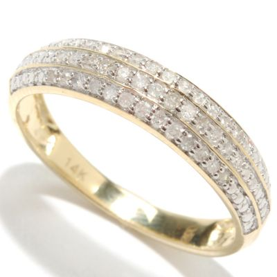133-316 - 14K Gold 0.15ctw Diamond Three Row Band Ring