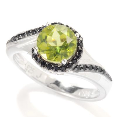 133-353 - Gem Insider Sterling Silver 1.50ctw Peridot & Spinel Wrap Halo Ring