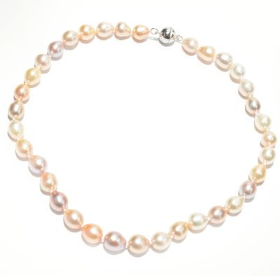 "133-362 - Sterling Silver 18"" 9-11mm Multi Color Freshwater Cultured Pearl Necklace"