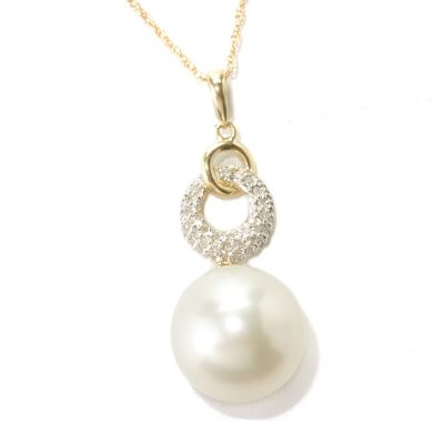 "133-365 - 14K Gold 14-15mm White South Sea Cultured Pearl & Diamond Pendant w/ 18"" Chain"