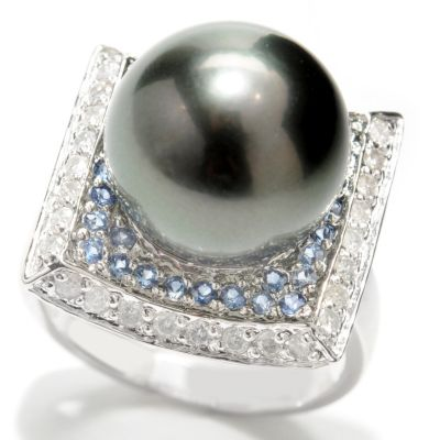 133-370 - 14K White Gold 12-13mm Black Tahitian Cultured Pearl, Sapphire & Diamond Ring
