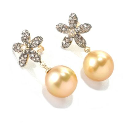 "133-372 - 14K Gold 1"" 12-13mm Golden South Sea Cultured Pearl & Diamond Flower Earrings"
