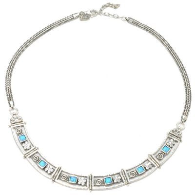 "133-459 - Passage to Israel Sterling Silver 17"" Simulated Blue Opal Flower Swirl Necklace"