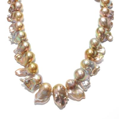"133-509 - 14K Gold 20"" 14-15mm Irregular Freshwater Metallic Cultured Pearl Necklace"