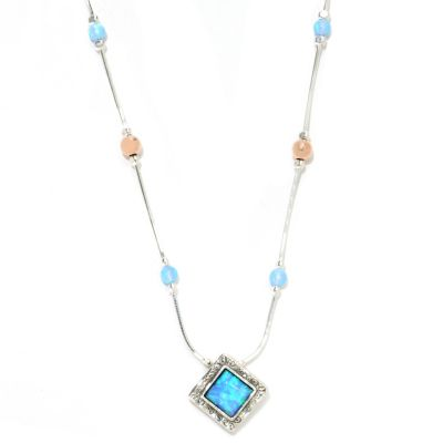 "133-513 - Passage to Israel Sterling Silver 18"" Blue Simulated Opal Bead Station Necklace w/ Extender"