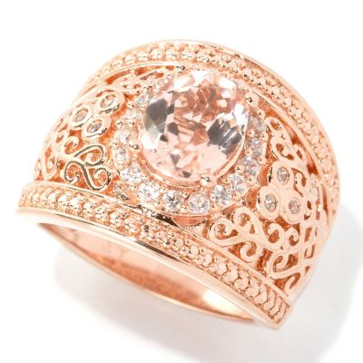 133-518 - NYC II 1.87ctw Morganite & White Zircon Wide Band Ring