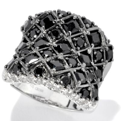 133-521 - NYC II Princess & Round Black Spinel & White Zircon Wide Ring