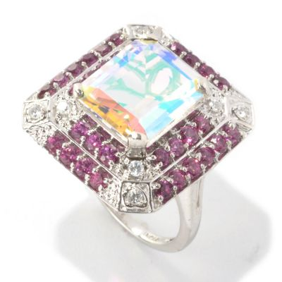 133-571 - NYC II 6.17ctw Emerald Cut Opalescence Quartz, Rhodolite Garnet & Zircon Ring