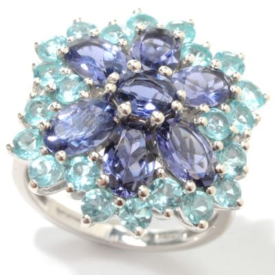 133-577 - NYC II 3.50ctw Iolite & Apatite Flower Ring