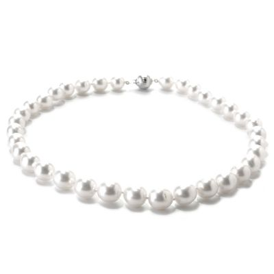 "133-609 - Sterling Silver 18"" 9-11mm White Graduated Oval South Sea Cultured Pearl Necklace"
