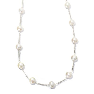 "133-611 - Sterling Silver 20"" 8-9mm White Freshwater Cultured Pearl Station Necklace"
