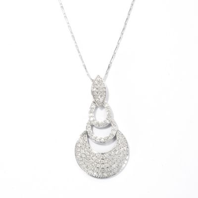 "133-678 - Beverly Hills Elegance 14K White Gold 1.00ctw Diamond Drop Pendant w/ 18"" Chain"