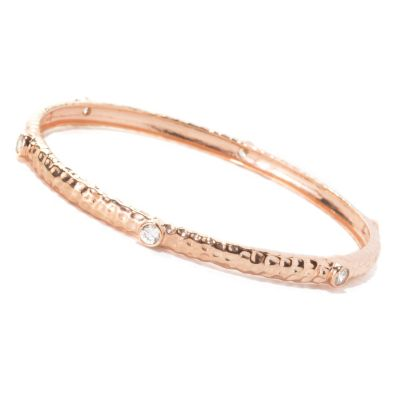 133-770 - Sonia Bitton 1.50 DEW Bezel Set Simulated Diamond Hammered Station Bangle Bracelet