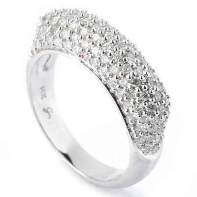 133-775 - SoHo Boutique 14K White Gold Diamond Pave Band Ring