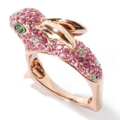 133-777 - SoHo Boutique 18K Rose Gold Diamond, Sapphire & Garnet Gemstone Bunny Ring