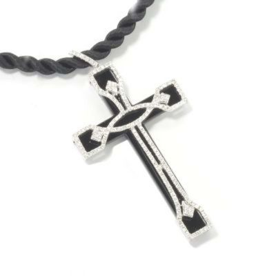 133-779 - SoHo Boutique 18K White Gold Diamond & Black Onyx Cross Pendant w/ Silk Cord