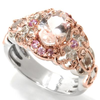 133-857 - Gems en Vogue II 1.51ctw Morganite & Pink Sapphire Butterfly Band Ring