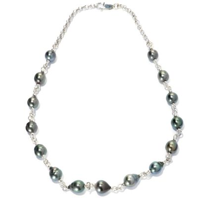 "133-964 - Sterling Silver 18"" 9-10mm Black Tahitian Cultured Pearl Station Necklace"