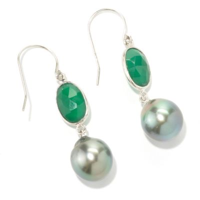 "133-966 - Sterling Silver 1.75"" 11-12mm Tahitian Cultured Pearl & Green Onyx Dangle Earrings"
