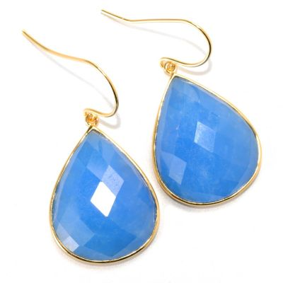 "133-967 - 1.5"" 23 x 18mm Checkerboard Cut Dyed Blue Kunlun Jade Drop Earrings"