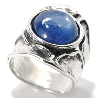 133-986 - Passage to Israel Sterling Silver 12mm Kyanite Sculpted Wide Band Ring
