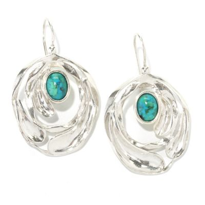 "134-001 - Passage to Israel Sterling Silver 1.5"" 8 x 6mm Oval Turquoise Textured Drop Earrings"