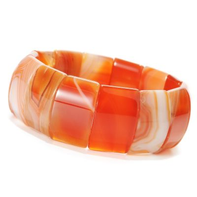 "134-256 - 7.5"" 25 x 15mm Multi Color Carnelian Stretch Bracelet"