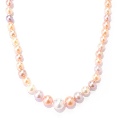 "134-258 - Sterling Silver 18"" 4-9mm Multi Color Freshwater Cultured Pearl Graduated Necklace"