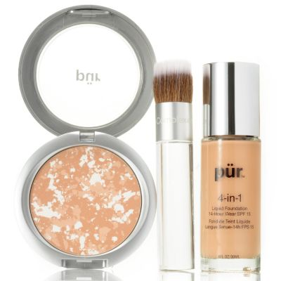 304-728 - Pür Minerals Three-Piece Long Wear Complexion Collection w/ Bag