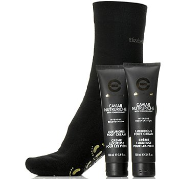 305-199 - Elizabeth Grant Caviar Foot Cream Duo w/ Moisturizing Socks