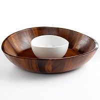 Acacia Wood Curved Chip and Dip Tray - The Cellar