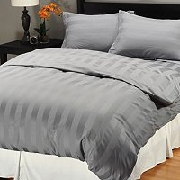 NORTH SHORE LINENS 500TC WIDE DAMASK STRIPE 3PC DUVET SET