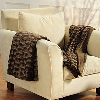 "COZELLE SET OF 2 FAUX MINK FUR 50""X60"" THROWS"