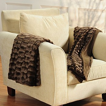 401-554 - Cozelle® Set of Two 60'' x 50'' Faux Mink Fur Throws
