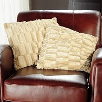 COZELLE SET OF 2 FAUX MINK FUR DECORATIVE PILLOWS